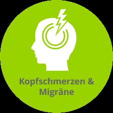 Schematische Darstellung Kopfschmerzen und Migräne